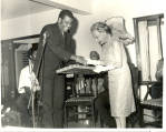 Mr. Robert Pickersgill makes a presentation to Princess Alice, on her farewell visit as...